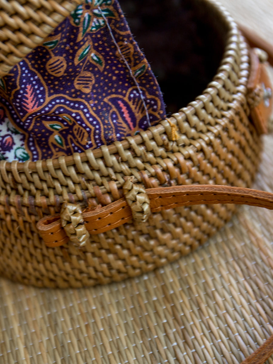 Bali Large Wicker Handbag Chestnut