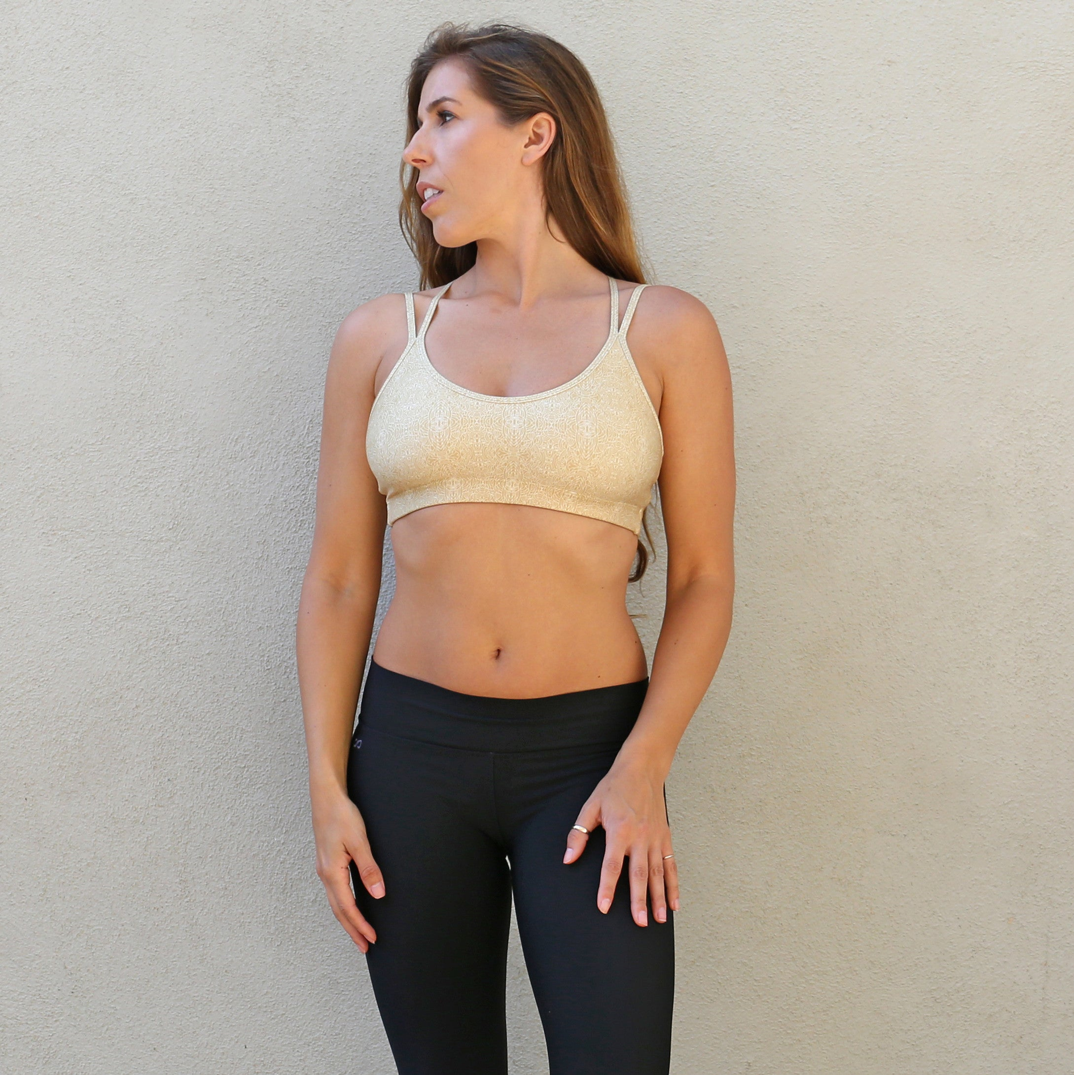 Bahasa Strappy Sports Bra Gold Icon Print