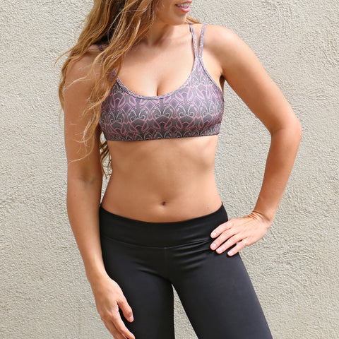 Bahasa Strappy Sports Bra Black & Pink Showstopper Print