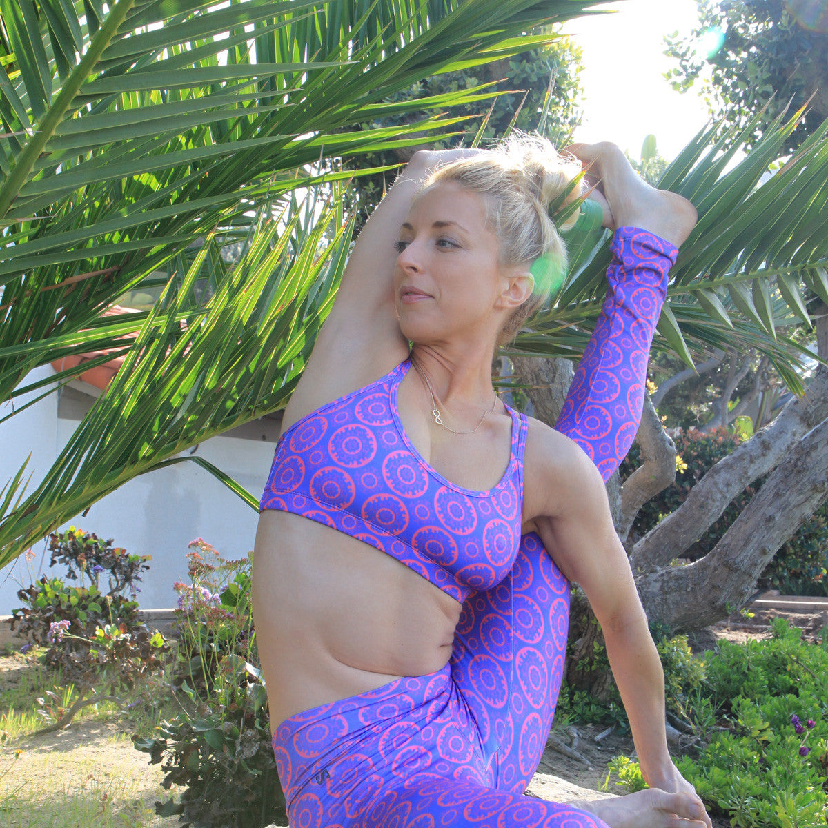 Bahasa Strappy Sports Bra Purple SightSeer Print