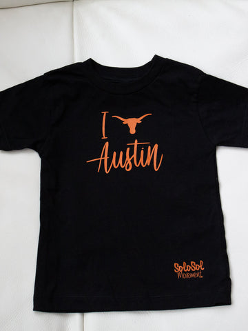 "Kids Toddler Graphic Tee ""I Love Austin"" Black"
