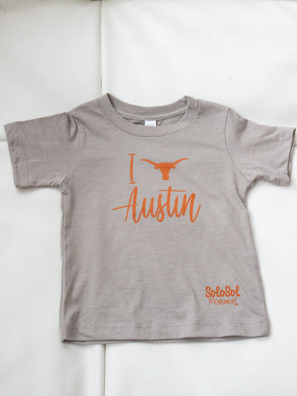 "Kids Baby Graphic Tee ""I Love Austin"" Stone"