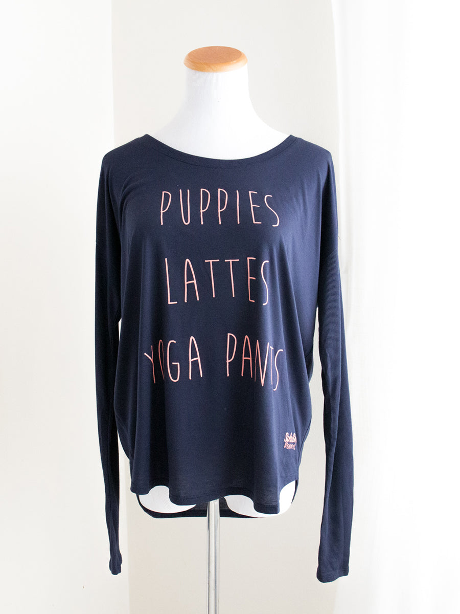"Graphic Flowy Long Sleeve ""Puppies. Lattes. Yoga Pants"" Navy"