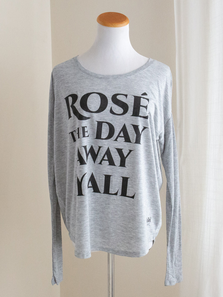 "Graphic Flowy Long Sleeve ""Rose the Day Away, Y'all"" Heather Gray"