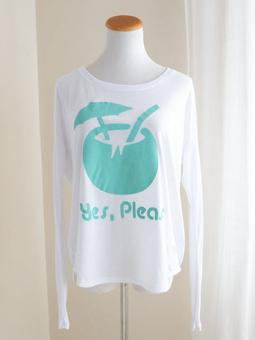 "Graphic Flowy Long Sleeve Shirt ""Yes Please"" White"