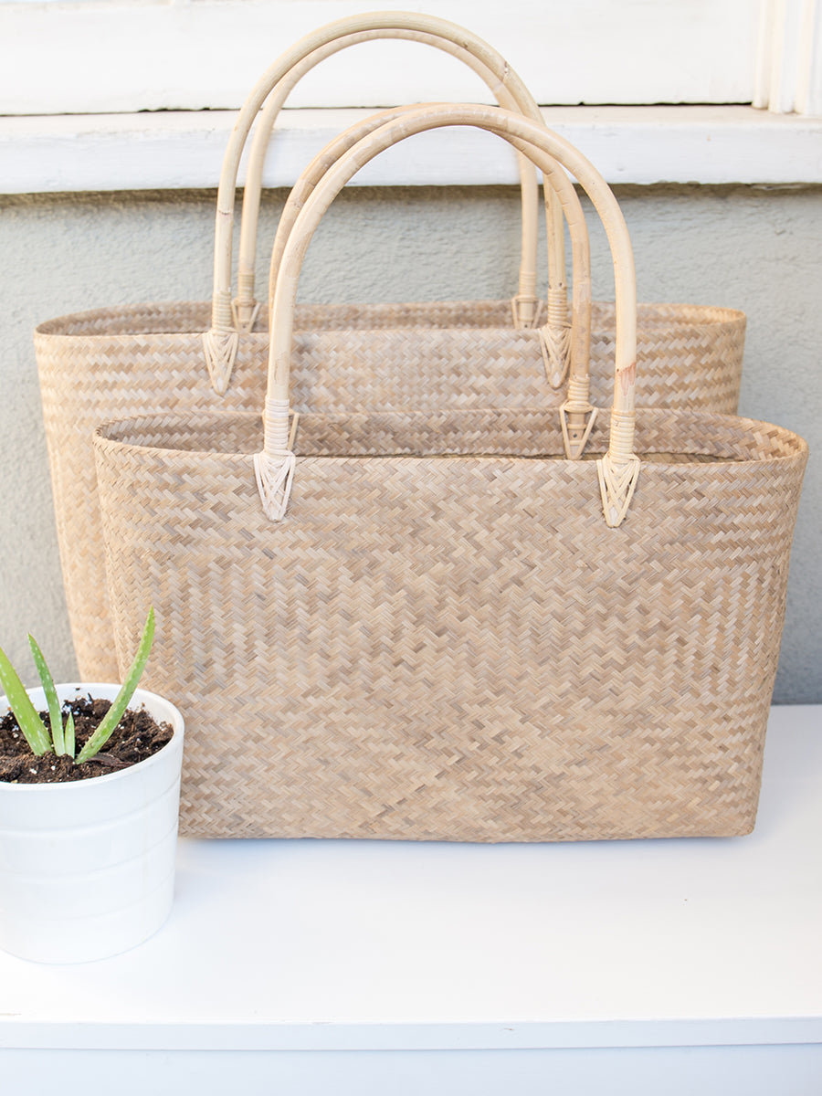 Heather Handwoven Tote Bag Small Natural