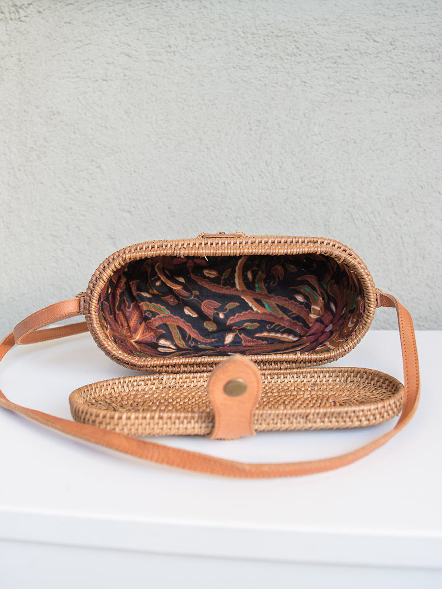 Hutton Handwoven Ata Grass Round Rectangle Crossbody Bag