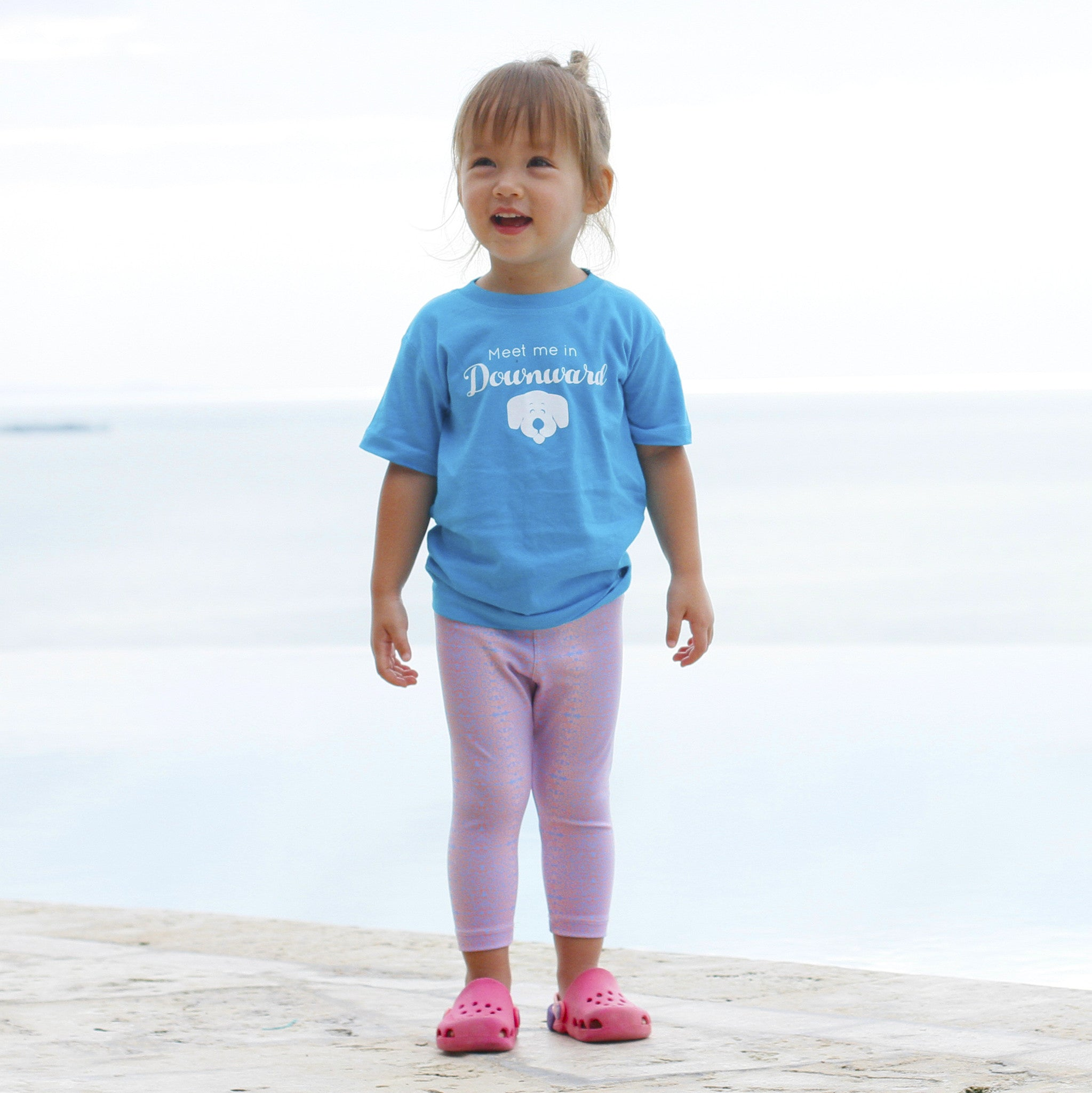 "Kids Graphic Tee ""Meet Me in Downward Dog"" Caribbean Blue"