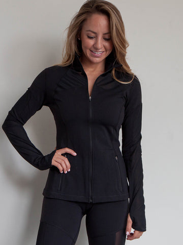 Legend Mesh Zipper Pocket Jacket Jet Black with Thumbhole