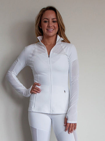 Legend Mesh Zipper Pocket Jacket with Thumbhole Cloud White