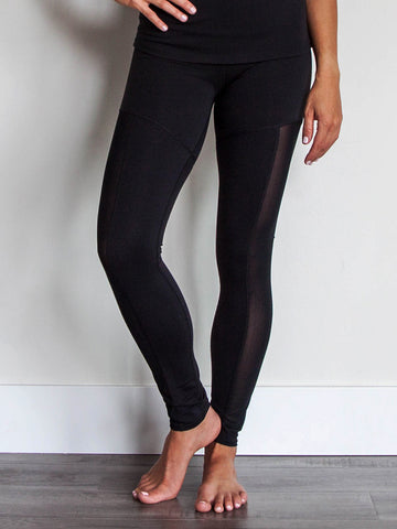 Legend Mesh Leggings Jet Black with Waistband Pocket