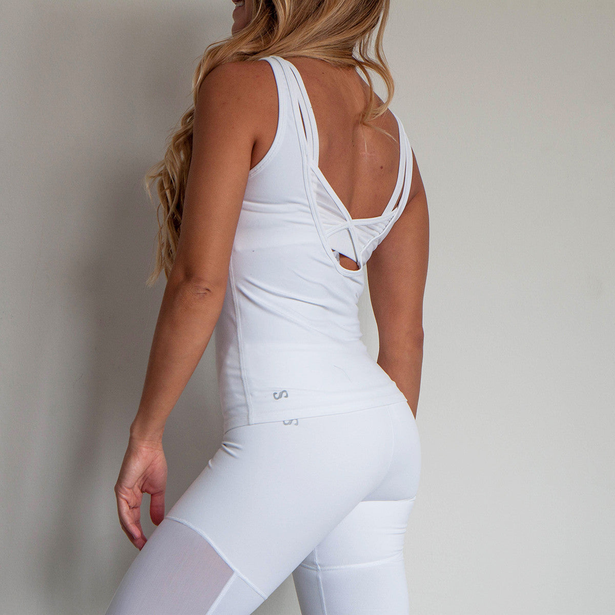 Legend Mesh Low Back Tank Top Cloud White