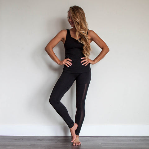 Legend Mesh Low Back Tank Top Jet Black