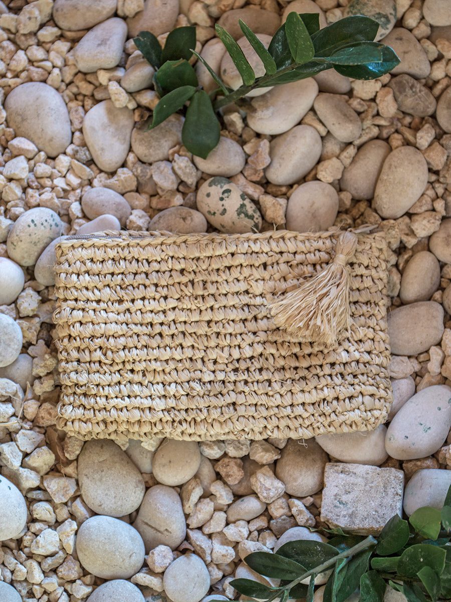 Penelope Pouch with Tassel Natural
