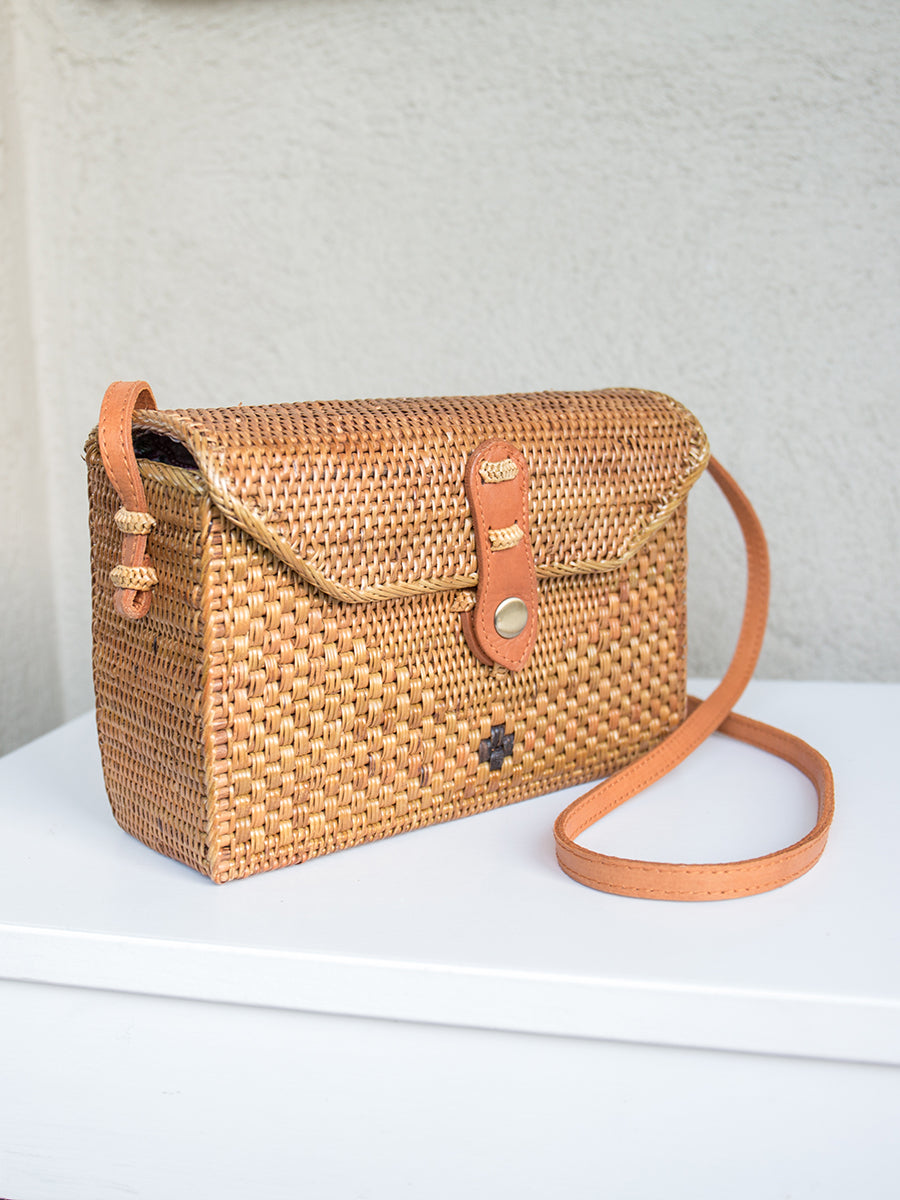 Postage Handwoven Ata Grass Rectangle Crossbody Bag Chestnut