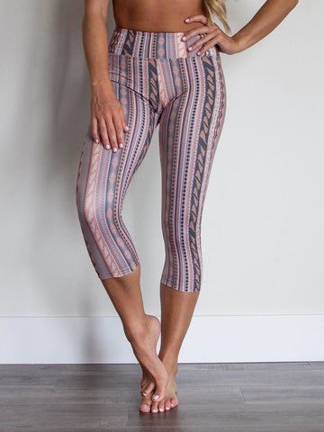 Sol Capri Peach & Gray Stripes Revival Print