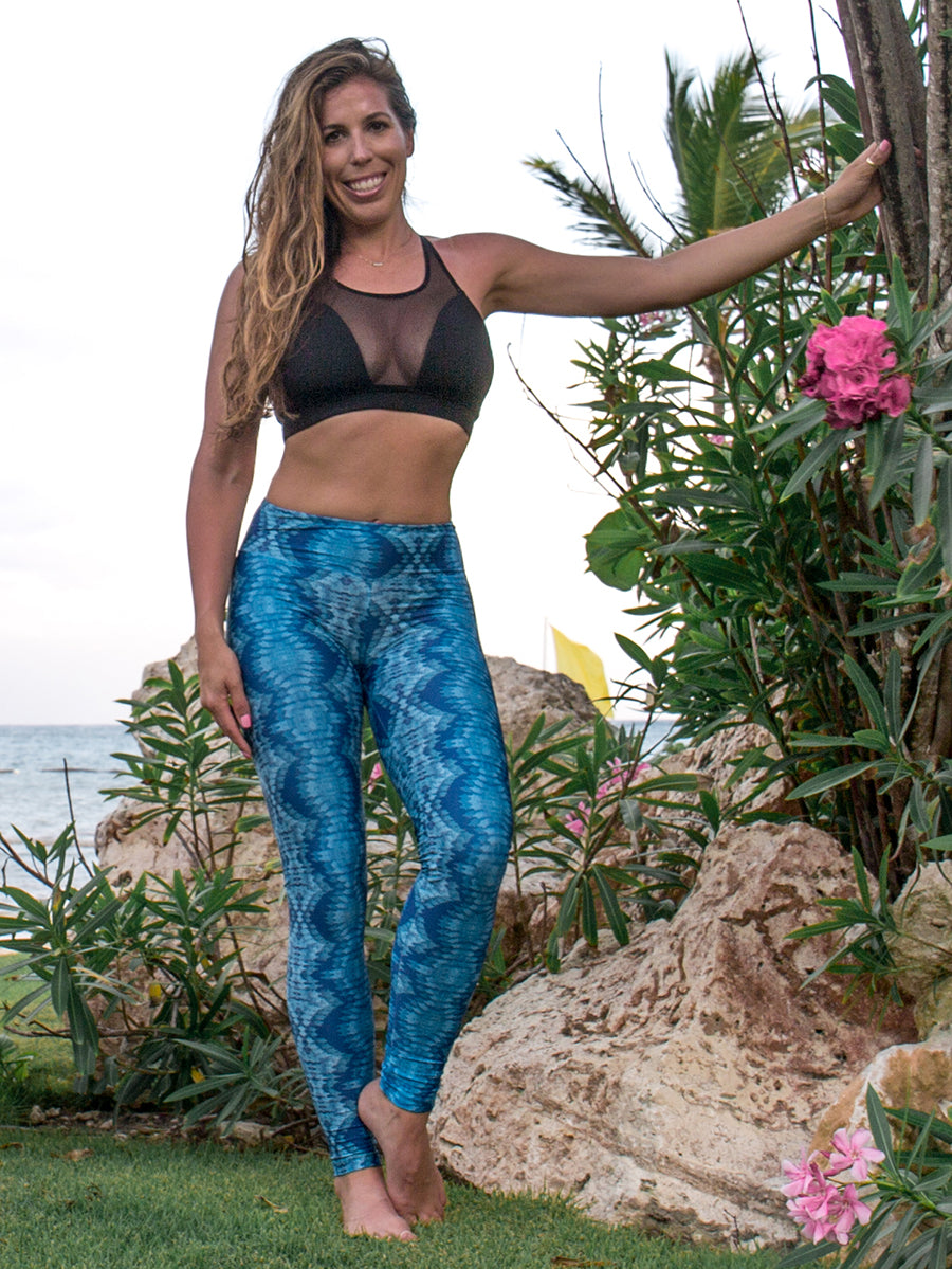 Sol Compression Leggings Teal & Blue Fantasy Print