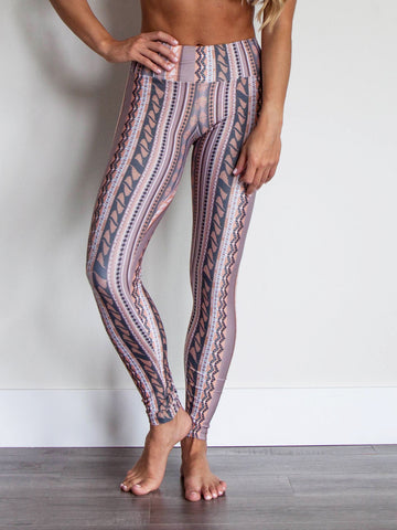 Sol Leggings Peach & Gray Stripes Revival Print