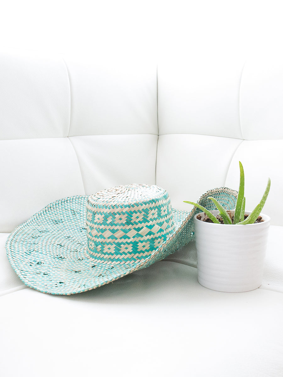 Abbot Handwoven Palm Leaves Hat with Woven Design