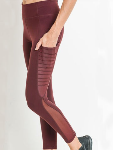 Austin Micro Crop Pocketed Leggings Sangria