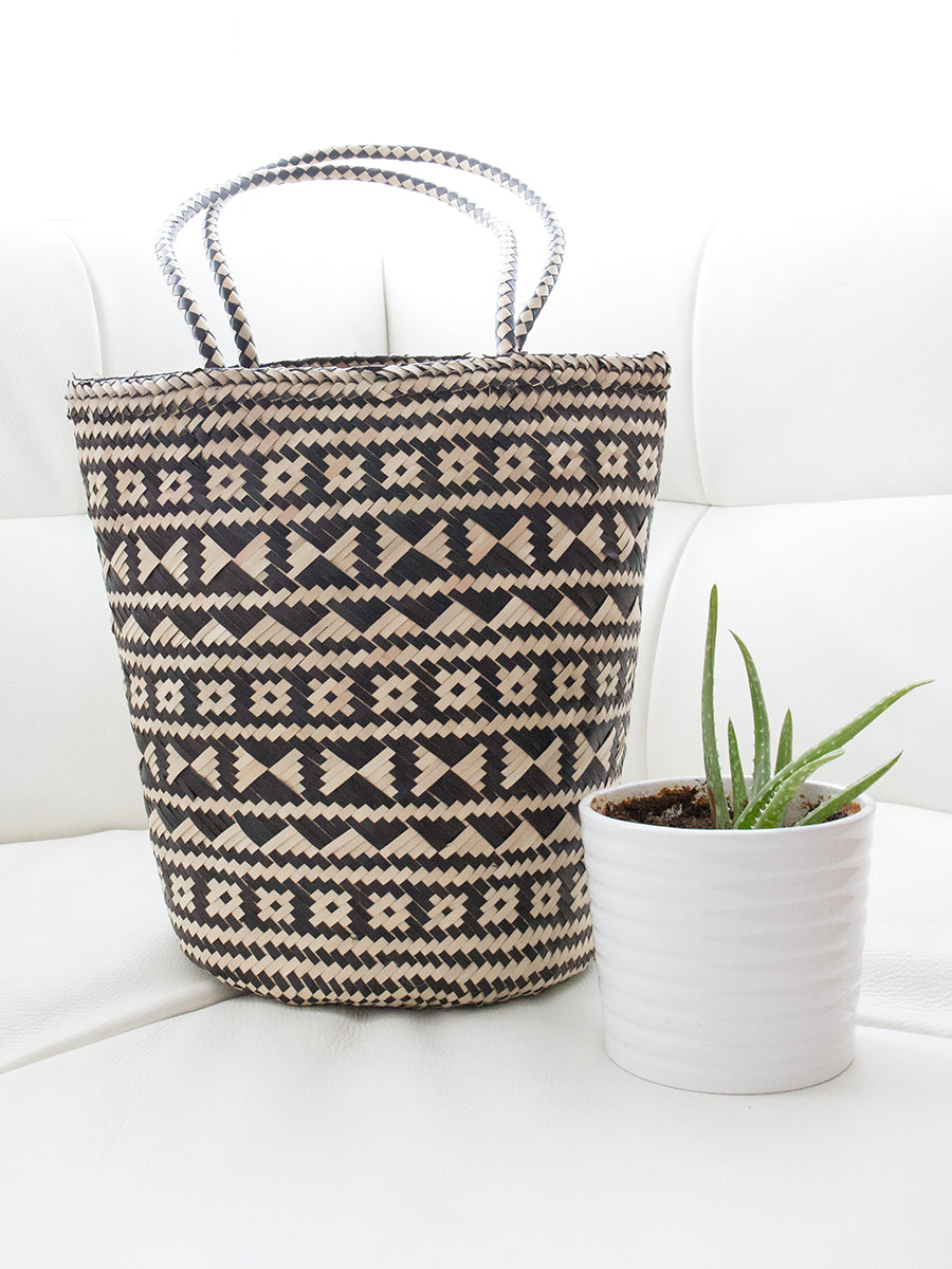 Buttercup Handwoven Tote Bag Tribal Black + Natural
