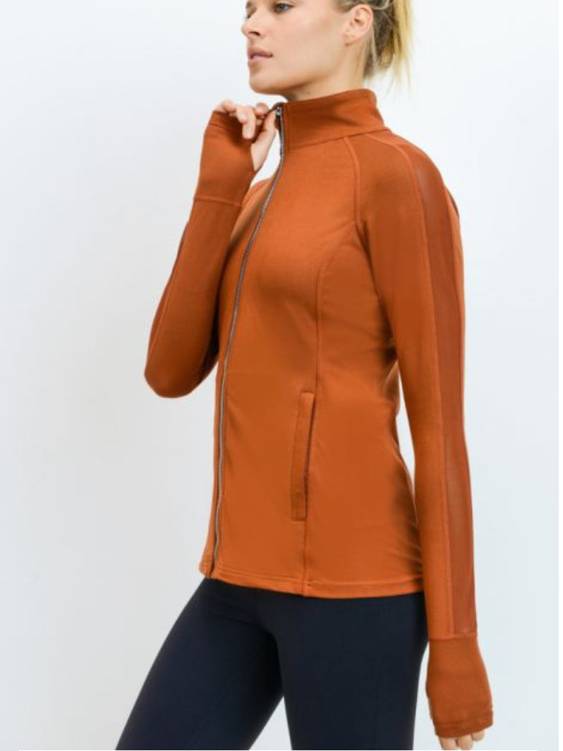 Get Active Zipper Jacket with Zipper Pocket and Thumb Hole Burnt Orange