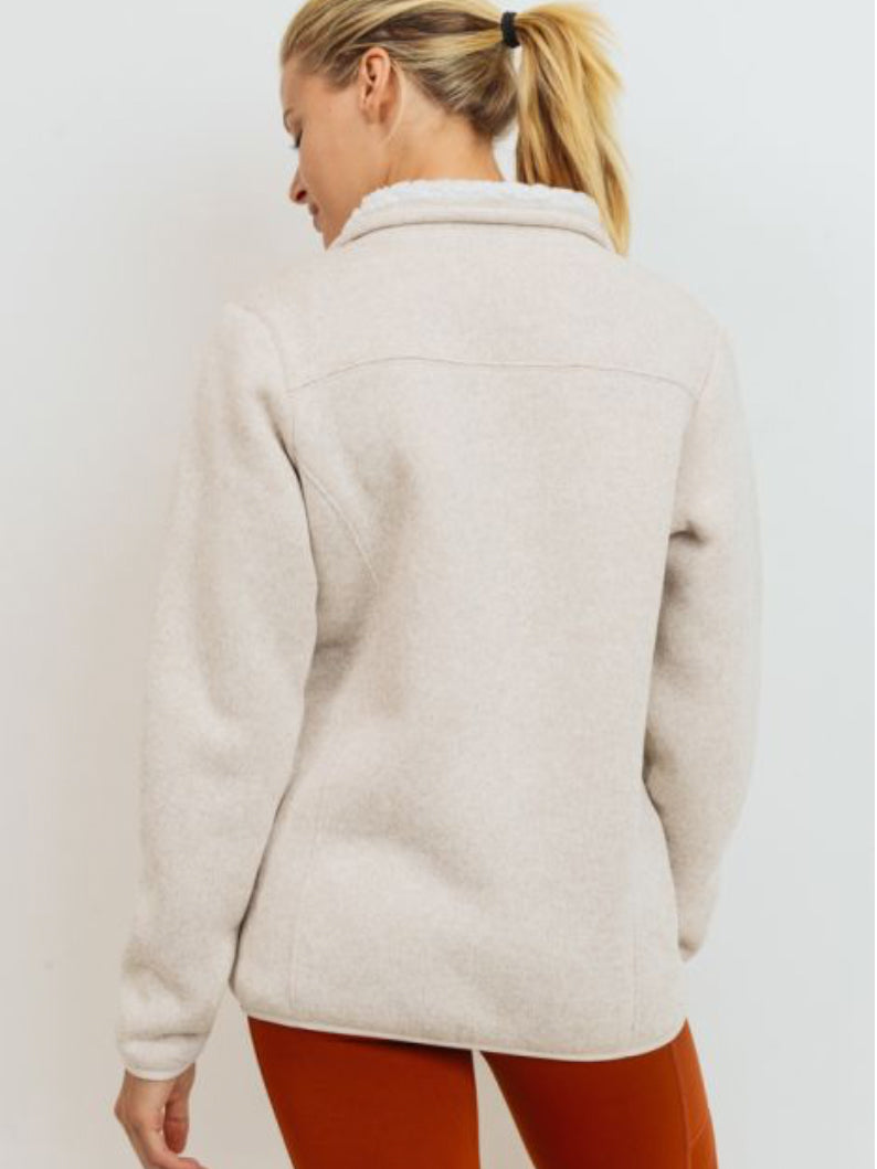 Grandstand Sherpa Lined Jacket Soy Milk
