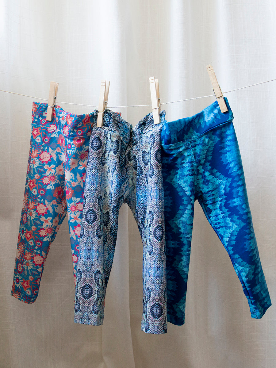 Kids Baja Leggings Blue Paradise Print