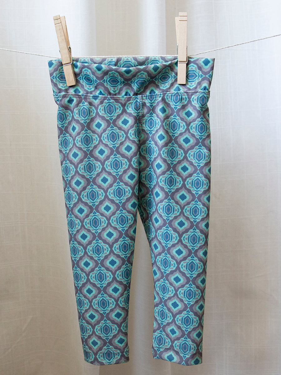 Kids Baja Leggings Green Vintage Print