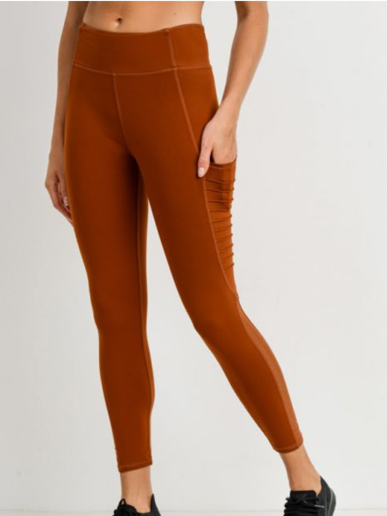 Austin Micro Crop Pocketed Leggings Burnt Orange