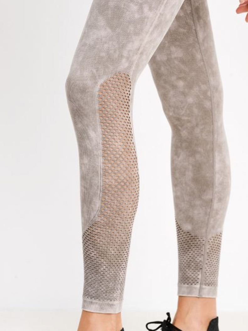 Spirit Stone Wash Seamless Leggings Mineral Gray and Pink