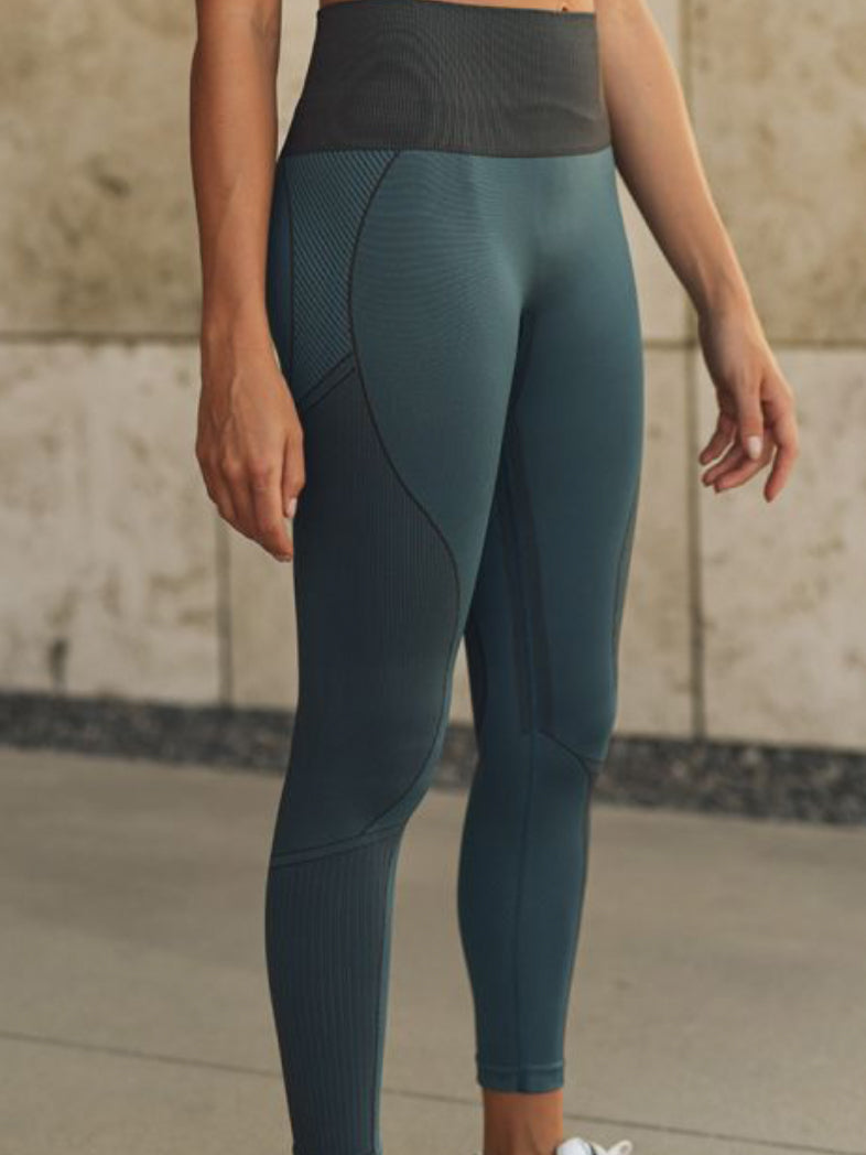 Strut Seamless Leggings Aqua Green and Taupe