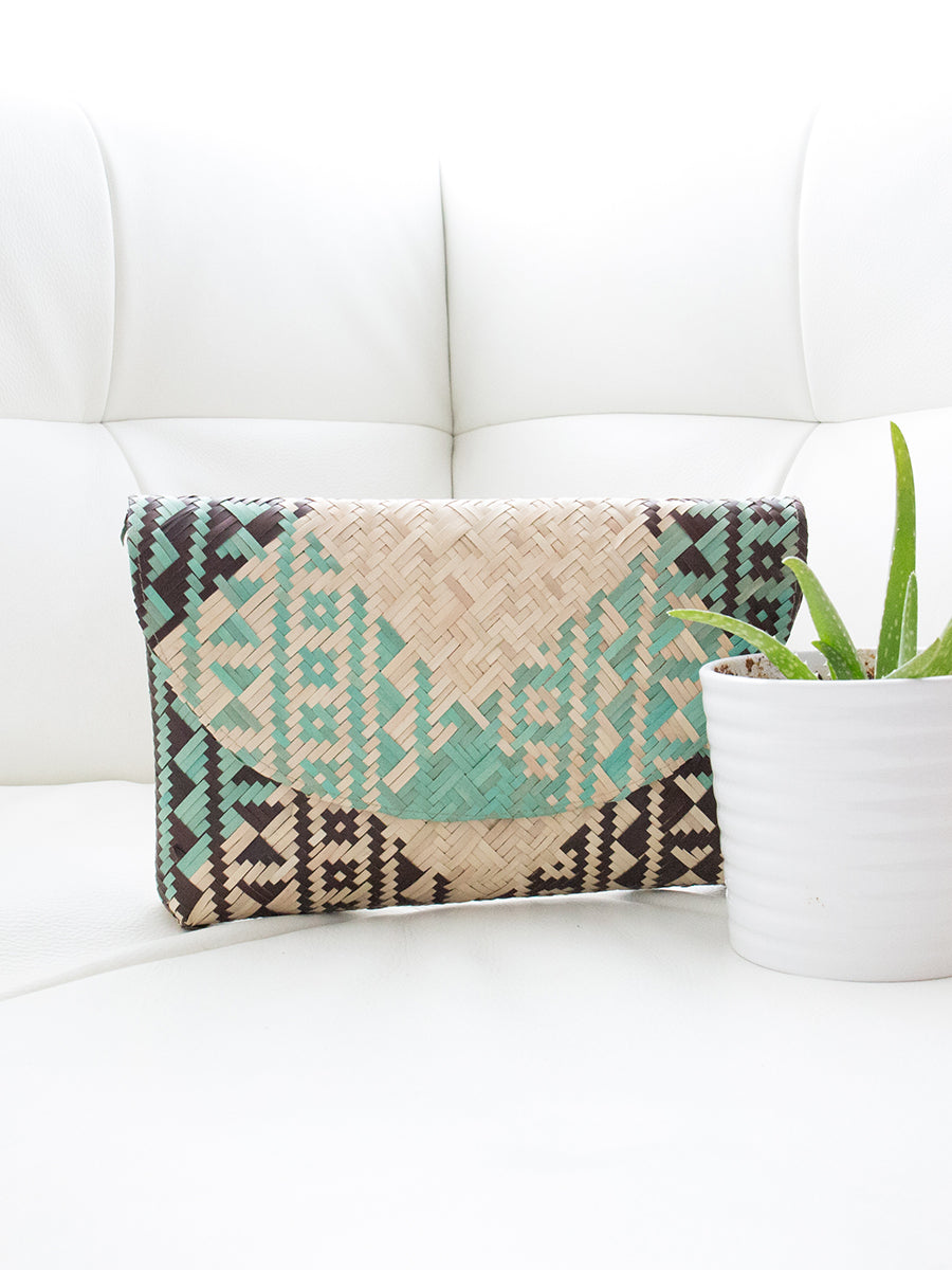 Lola Palm Leaf Clutch Round Geometric Design Natural + Teal + Black