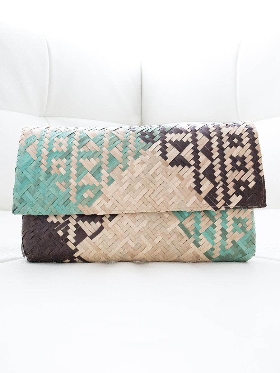 Lola Palm Leaf Clutch Square Geometric Design Natural + Black + Teal