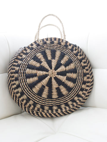 Luna Circular Handwoven Bag with Handles Natural and Black