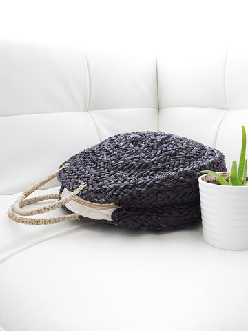 Nicole Round Handwoven Bag with Handles Black