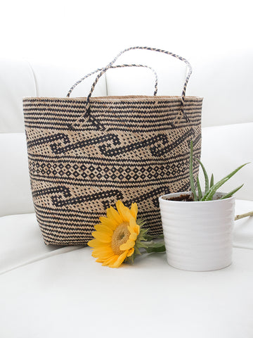 Savage Handwoven Tote Bag Natural + Black