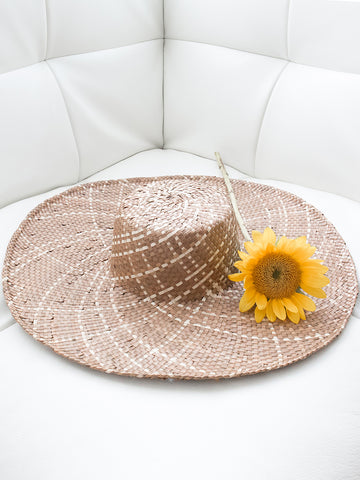Trill Handwoven Hat with Design Cocoa + Natural