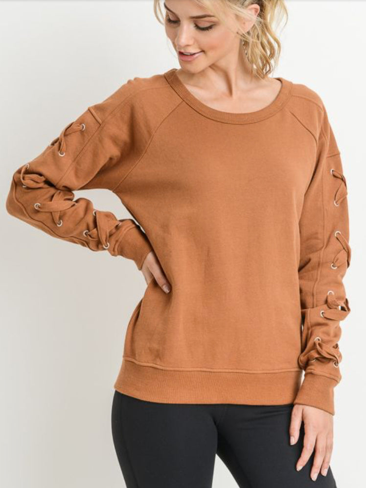 Pennybacker Lace Up Sleeve Sweater
