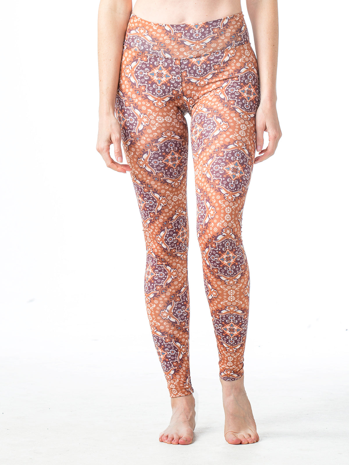 Baja Leggings Burgundy and Copper Austin Print