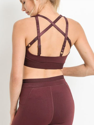 Eastside Criss Cross Sports Bra Sangria