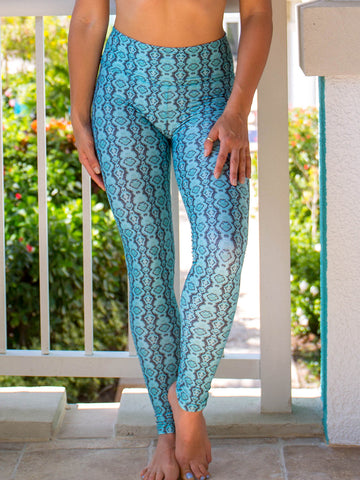 High Waist Alta Legging Green Snakeskin Amazon Print
