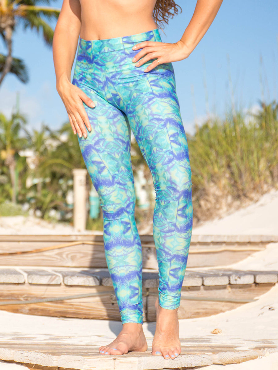 High Waist Alta Legging Teal Green Lush Palm Tree Print
