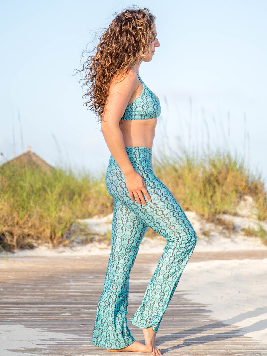 Flare Leggings Green Snakeskin Amazon Print