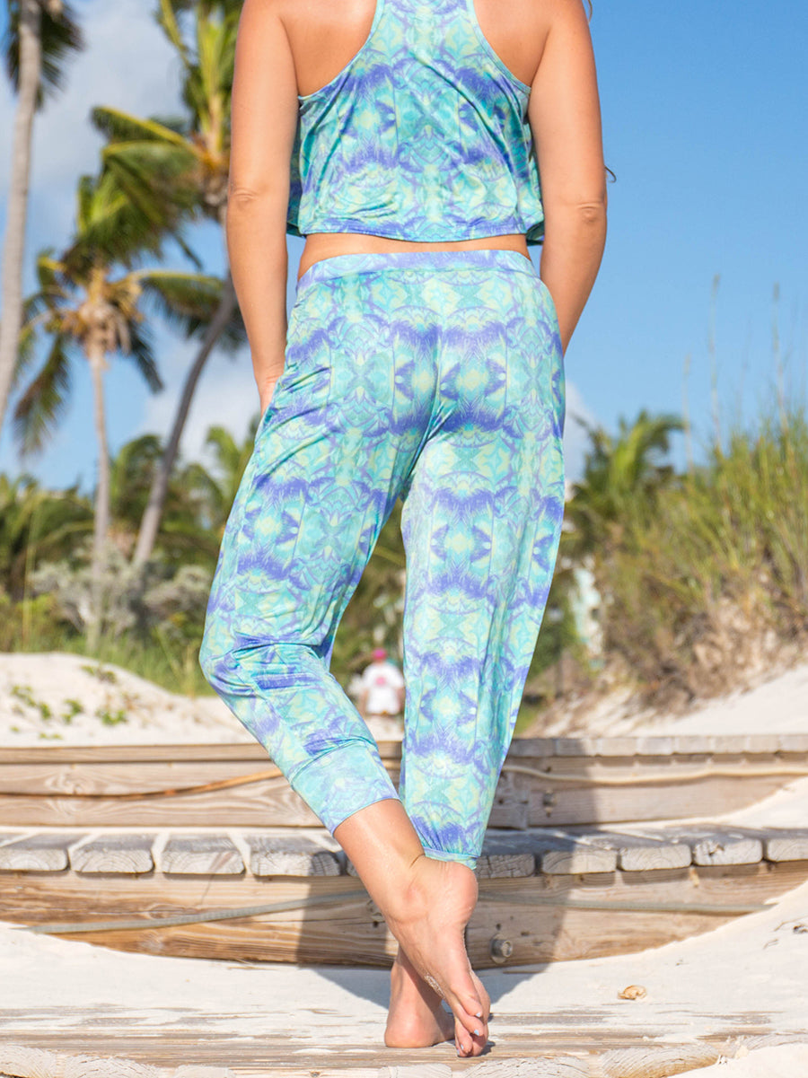 Gypsea Flowy Fit Capri Teal Green Palm Trees Lush Print