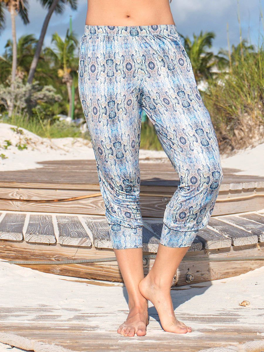 Gypsea Loose Fit Capri Multicolor Snakeskin Mamba