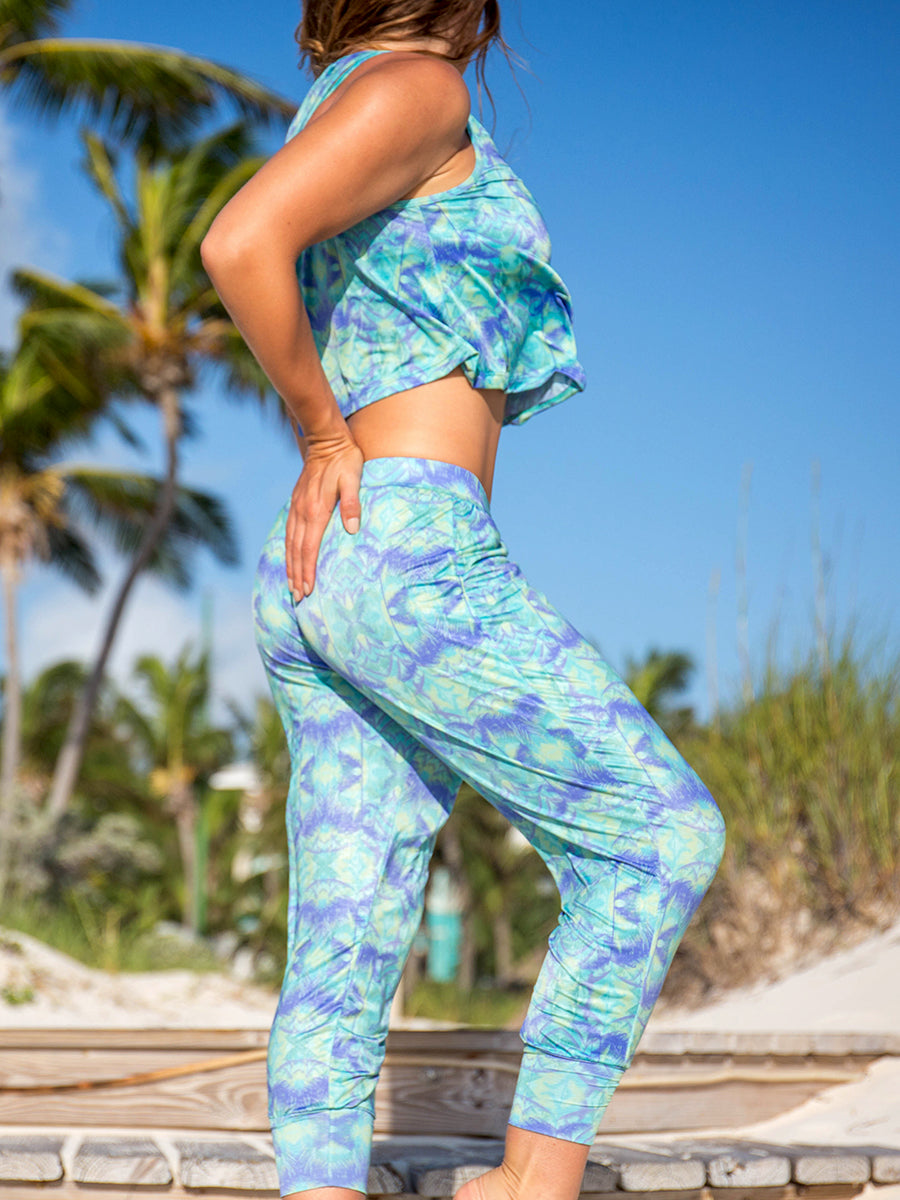 Nusa Flowy Crop Top Teal Green Palm Trees Lush Print