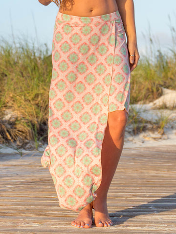 Satya Flowy Skirt Peach Palm Leaf Island Print