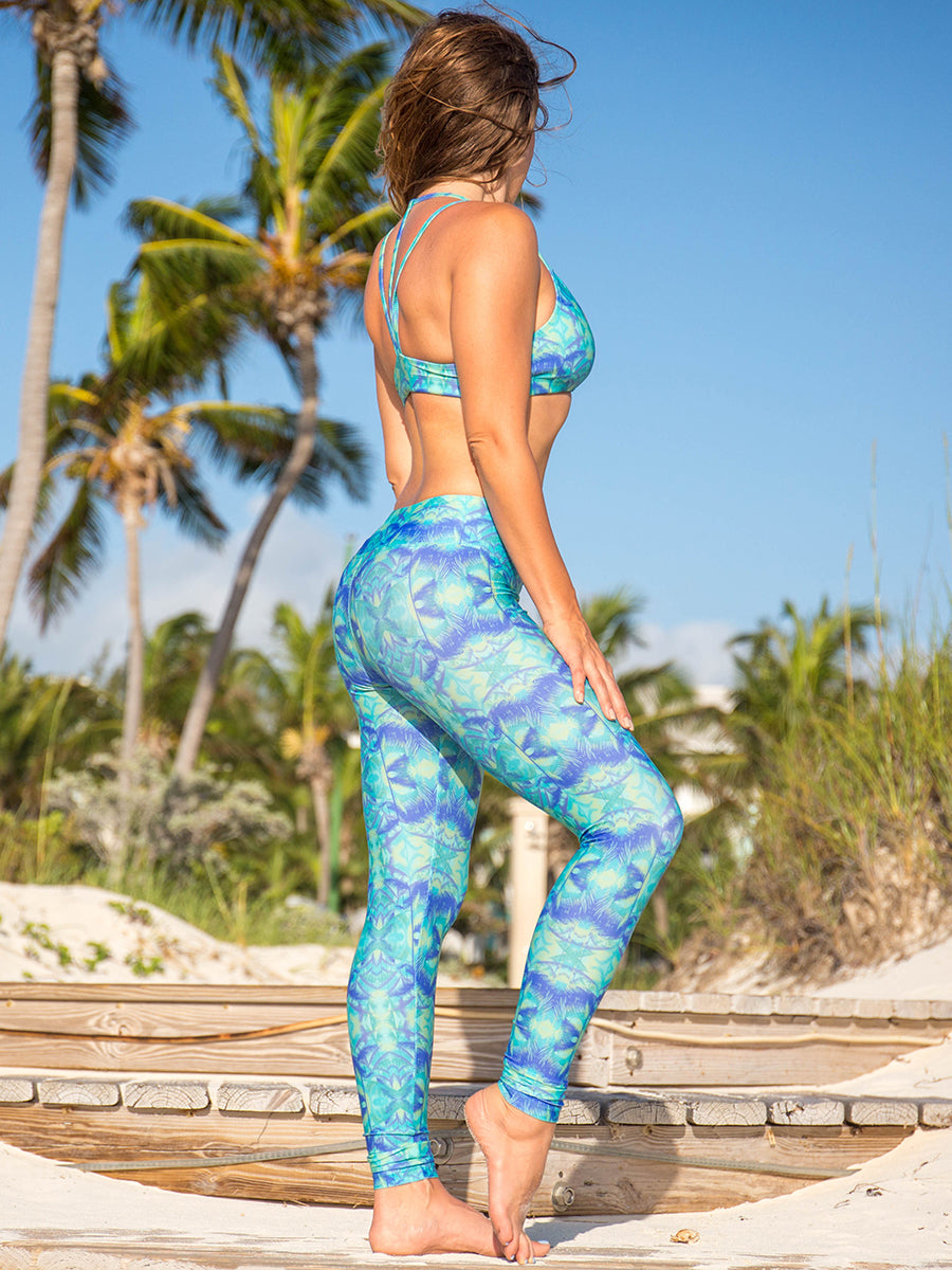 Sol Leggings Teal Green Palm Trees Lush Print