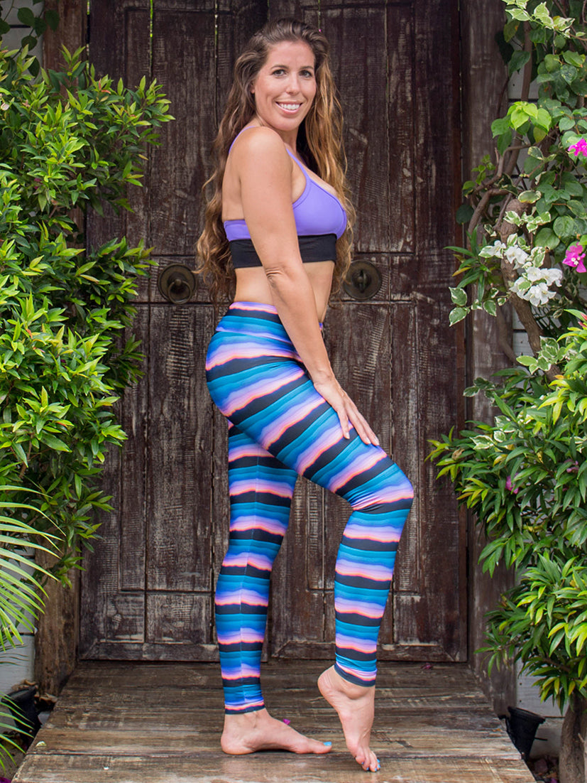 Sol Compression Leggings Purple & Blue Sunset Enchanted Print